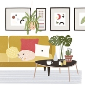 Cute cozy room with cat sleeping on comfy sofa, coffee table, potted plants, home decorations. Comfortable house or apartment decorated in modern Scandinavian hygge style. Flat vector illustration