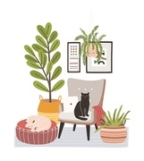 Comfy living room interior with cats sitting on armchair and ottoman, houseplants growing in pots, home decorations. Comfortable apartment decorated in Scandic hygge style. Flat vector illustration