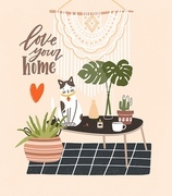 Comfy room with table, cat sitting on it, potted plants, home decorations and Love Your Home phrase written with cursive font. Cozy house decorated in Scandic hygge style. Flat vector illustration