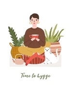 Cute young woman drinking tea, cat, houseplants and Time To Hygge slogan handwritten with cursive font. Comfortable house or apartment decorated in cozy Scandic style. Flat vector illustration