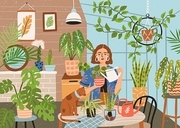 Crazy plant lady at greenhouse or home garden. Cute funny young woman with watering can taking care of houseplants growing in pots or planters. Modern vector illustration in flat cartoon style