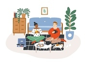Young romantic couple sitting on floor, drinking tea and eating cookies in evening. Man and woman spending time together in their apartment. Colorful vector illustration in flat cartoon style.