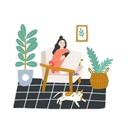 Young girl sitting in comfortable armchair and drinking tea or coffee in room furnished in Scandinavian style. Woman spending evening time at home. Colored vector illustration in flat cartoon style.
