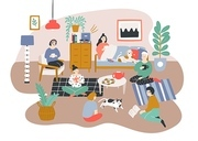 Group of men and women sitting in room furnished in Scandic style and talking to each other. Friends spending time together at home. Friendly visit. Colorful vector illustration in flat cartoon style.