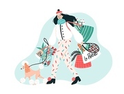 Smiling young woman dressed in trendy outerwear walking her poodle dog on leash and carrying bags with purchased products. Stylish pet owner. Colorful vector illustration in flat cartoon style.