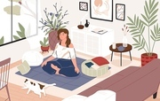 Smiling girl sitting cross-legged in her room or apartment, practicing yoga and enjoying meditation. Young woman with crossed legs and closed eyes meditating at home. Flat cartoon vector illustration