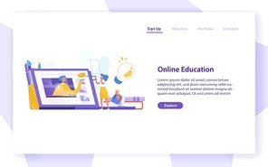 Landing page template with tiny girl standing in front of giant laptop computer and looking at screen. Distance learning, internet studying, online education. Modern isometric vector illustration