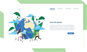 Landing page template with group of people of ecologists taking care of Earth and nature. Save The Planet. Environmental protection, use of eco friendly technology. Flat colorful vector illustration
