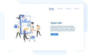 Web banner template with group of crazy customers, buyers or shopaholics carrying shopping carts, bags and boxes and giant tablet PC. Online store super sale. Flat vector illustration for website
