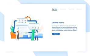 Web banner template with giant computer and tiny students passing internet test. Online exam, distant learning or education. Modern flat vector illustration for educational service promotion