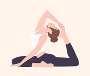 Young woman in Raja Kapotasana posture or King Pigeon Pose. Female cartoon character practicing yoga. Yogi girl performing physical activity isolated on light background. Flat vector illustration