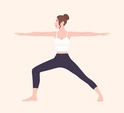 Cute slim woman in Virabhadrasana II or Warrior Pose. Female cartoon character demonstrating Hatha yoga posture. Girl performing gymnastics exercise during fitness workout. Flat vector illustration