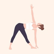 Cute woman in Trikonasana or Triangle Pose. Female cartoon character performing Hatha yoga asana. Sports training, gymnastics workout, healthy physical activity. Flat cartoon vector illustration