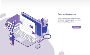 Modern horizontal web banner template with tiny people standing in front of giant laptop and looking at text displaying on screen. Copywriting, content management and SEO. Colored vector illustration.