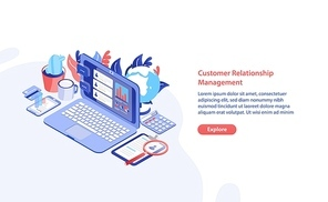 Horizontal web banner template with laptop, tablet pc and smartphone on table and place for text. Customer relationship management, service feedback, audience retention analysis. Vector illustration.