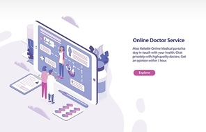 Horizontal web banner template with patient and physician standing in front of giant tablet PC and looking through personal health indicators. Online doctor service. Isometric vector illustration.