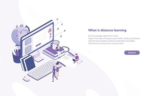 Horizontal web banner template with tiny people standing in front of giant computer and looking at screen. Distance learning, online studying, internet education. Modern isometric vector illustration.