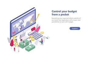 Web banner template with tiny people walking near computer with app for budget planning, sitting on money bills, carrying receipt. Concept of financial administration. Isometric vector illustration.