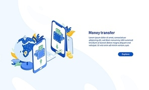 Horizontal web banner template with pair of smartphones, globe, flying paper plane and place for text. Secure and fast international electronic money transfer service. Isometric vector illustration.