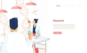 Web banner template with pair of scientists wearing white coats conducting experiments and scientific research in science laboratory. Vector illustration for medical lab service advertisement