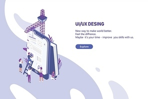 Horizontal web banner template with group of tiny people creating application design on giant tablet PC. User interface and experience engineering. Colorful modern isometric vector illustration.