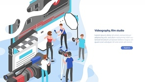 Website template with group of people shooting video and place for text. Videography service or film production studio. Trendy colorful isometric vector illustration for advertisement, promotion