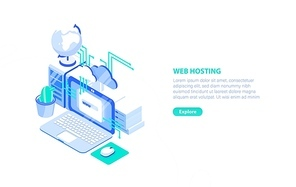 Creative horizontal banner template with laptop computer, server and place for text. Web or internet hosting technology, website support service. Modern colorful isometric vector illustration