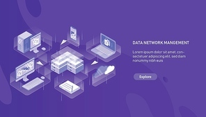 Modern horizontal web banner template with computer, laptop, smartphone, server, router and paper planes flying between them. Data network management. Modern colorful isometric vector illustration.