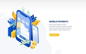 Horizontal web banner template with smartphone, flying paper plane, coins, shopping bags and place for text. Mobile payment, electronic money transfer technology. Isometric vector illustration