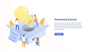 Web page template with group of people putting giant lightbulb into light fixture and place for text. Teamwork or collective work. Colorful isometric vector illustration for advertisement, promotion
