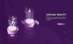 Horizontal web banner template with man and woman wearing virtual reality glasses. Male and female cartoon characters enjoying VR headset effects. Modern colorful isometric vector illustration.