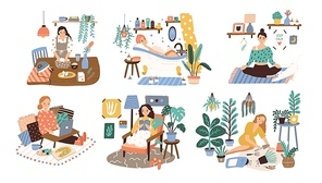 Set of women enjoying their free time, performing leisure activities and doing hobbies - cultivating home garden, meditating, taking bath, reading book, cooking. Flat cartoon vector illustration