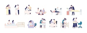 Collection of pregnancy and maternity scenes. Bundle of pregnant woman performing daily activities, visiting physician, caring with man for infant newborn baby. Flat cartoon vector illustration.