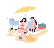 Cute happy family spending summer vacation at resort. Mother, father and children sunbathing and building sand castle on beach. Parents and kids having fun outdoors. Flat cartoon vector illustration