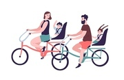 Happy family riding tandem bicycles or bicycling. Cute smiling mother, father and children on bikes. Parents and kids bicyclists performing sports activity outdoors. Flat cartoon vector illustration