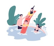Cute family having fun at water park. Mom, dad and children spend time together in swimming pool. Leisure activity. Funny cartoon characters isolated on white background. Flat vector illustration