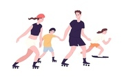 Adorable family on roller skates and skateboard. Mom, dad and children roller skating and skateboarding. Parents and kids performing recreational activity outdoors. Flat cartoon vector illustration