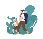 Dad and son with backpacks walking or hiking. Parent and child tourists travelling or backpacking. Family touristic activity. Happy fatherhood or parenting. Flat cartoon colorful vector illustration