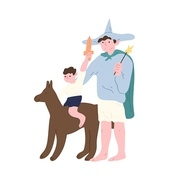 Cute funny dad and son wearing costumes of fairytale characters and playing. Adorable father and child spending time together. Happy parenting and fatherhood. Flat cartoon vector illustration