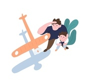 Father and son launch model aircraft. Dad and kid watching flight of toy airplane, aeromodel or glider. Parent and child enjoying outdoor leisure activity or hobby. Flat cartoon vector illustration