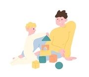 Father and son playing with toy building blocks or construction kit. Dad and kid spending time together at home. Parent and child enjoying leisure activity. Flat cartoon colorful vector illustration