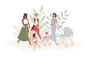 Group of cute women with babies in prams and strollers. Moms walking with their infant children. Community of young mothers. Motherhood and maternity. Flat cartoon colorful vector illustration