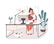 Cute happy mother holding her infant baby, sitting at desk and working on computer at home. Female freelance worker with child at workplace. Maternity and career. Flat cartoon vector illustration