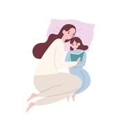 Cute smiling mother and daughter in pyjamas lying in bed and reading book or fairytale. Happy adorable mom and child spending time together at home. Flat cartoon colorful vector illustration