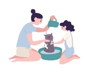 Happy mother and daughter washing cat at home. Funny mom and little girl taking care of domestic animal or pet. Daily family activity. Maternity and motherhood. Flat cartoon vector illustration