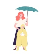 Cute mother and daughter dressed in raincoat standing under umbrella. Mom and child walking outdoors on rainy day. Happy family, parenthood and maternity. Flat cartoon colorful vector illustration