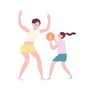 Happy mother and daughter playing basketball. Funny mom and little girl spending time at game training. Parent and child performing sports activity. Flat cartoon colorful vector illustration