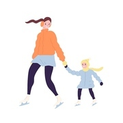Happy cute mom and daughter on ice skates. Smiling mother and child in outerwear ice skating on rink. Winter outdoor family recreational or sports activity. Flat cartoon colorful vector illustration