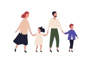 Mother, father, son and daughter. Portrait of modern family with children walking together. Parents and kids holding hands isolated on white background. Colorful vector illustration in flat style