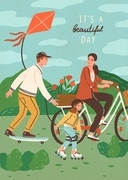 Cute happy family riding bike, skateboard and roller skating outdoors. Smiling mother, father and son performing sports or leisure activity in park. Summer vacation. Flat cartoon vector illustration
